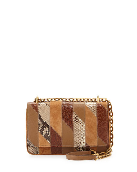 Medium Patchwork Chain Crossbody Bag, Camel (Cannella)
