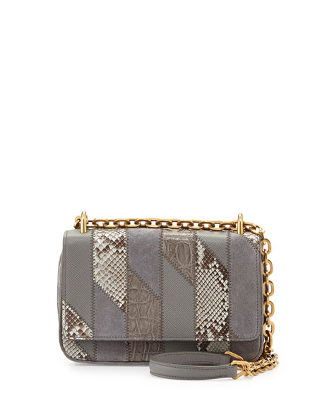 Small Patchwork Chain Crossbody Bag, Gray (Marmo)