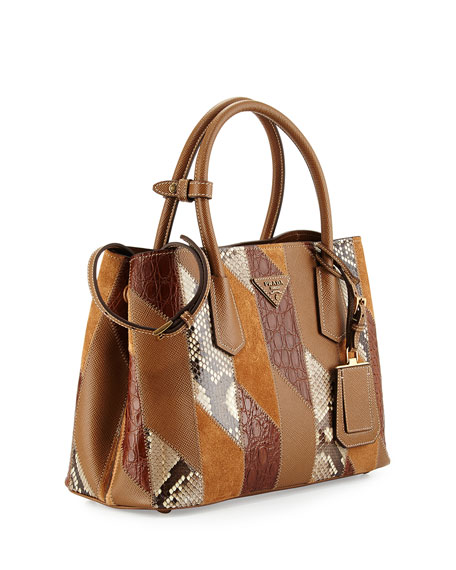 Patchwork Tote Bag, Camel Multi (Cannela)