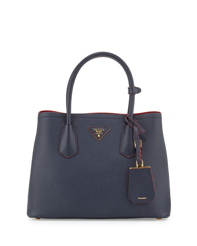 Saffiano Cuir Double Bag, Blue/Red (Baltico+Ciliegia)