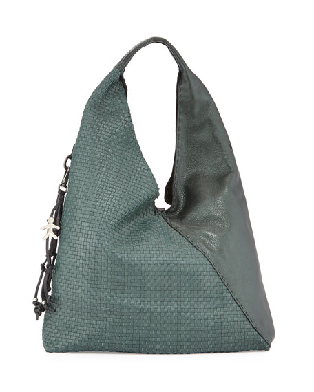 Canotta Woven Leather Hobo Bag, Metallic Green