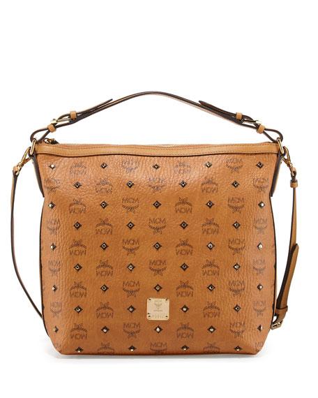 MCM Gold Visetos Hobo Bag, Cognac