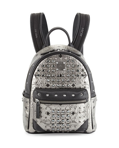 MCM Diamond Visetos Backpack, Silver