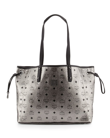 mcm shopper project visetos reversible tote bag silver neiman marcus. Black Bedroom Furniture Sets. Home Design Ideas