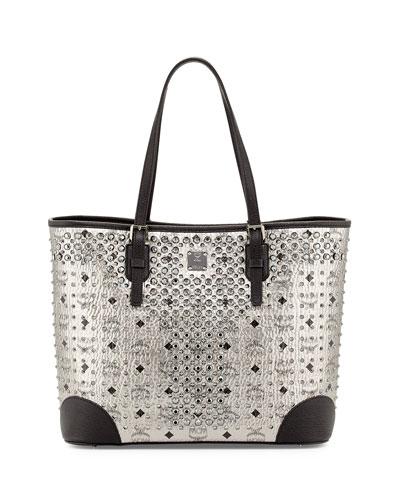 Diamond Visetos Tote Bag, Silver