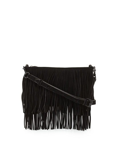 Finn Suede Fringe Crossbody, Black