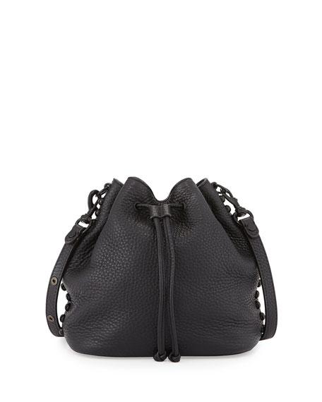 Rebecca Minkoff Pebbled Leather Bucket Bag, Black