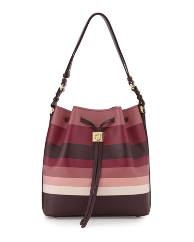 Sansy Striped Bucket Bag, Rouge Noir/Griott