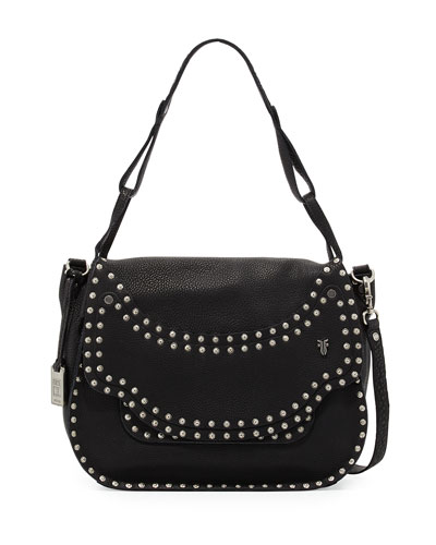 Nikki Nailhead Flap Crossbody Bag, Black