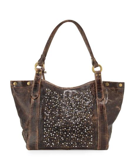 Deborah Glazed-Leather Embellished Shoulder Bag, Chocolate