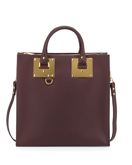 Sophie Hulme Albion Large Square Tote Bag, Oxblood