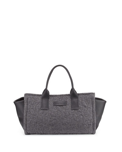 Monili Bonded Flower East-West Tote Bag, Gray