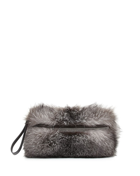 Brunello Cucinelli Fox Fur Medium Messenger Clutch Bag,