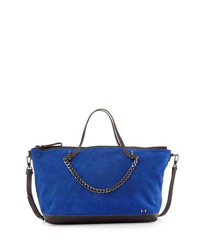 Two-Tone Satchel Bag, Cobalt