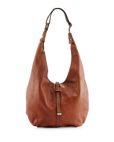 Front-Closure Hobo Bag, Caramel
