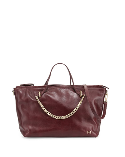 Leather Satchel Bag, Syrah