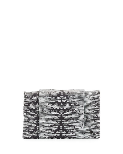 Embossed Wallet Clutch Bag, Black/White