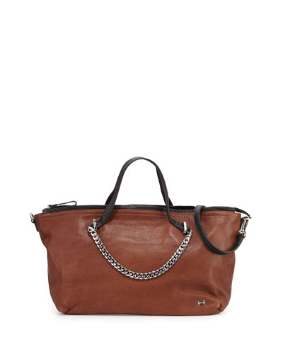 Two-Tone Leather Satchel Bag, Caramel