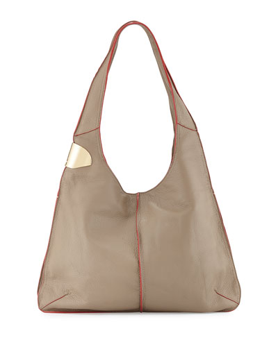 Two-Tone Hobo Bag, Dark Ash