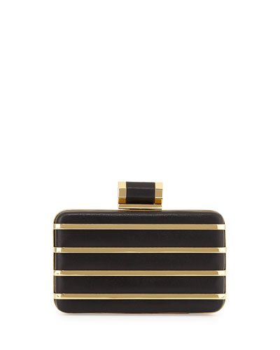 Oblong Metal Stripe Minaudiere, Black/Gold