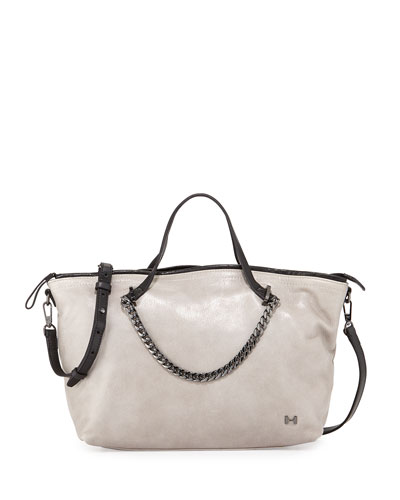 Two-Tone Leather Satchel Bag, Heather Gray