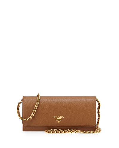 Saffiano Leather Wallet-on-Chain, Brown (Cannella)