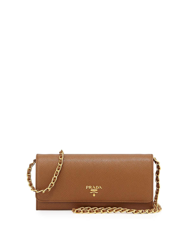 3fd3f09392560b Prada Saffiano Leather Wallet-on-Chain, Brown (Cannella) | Neiman Marcus