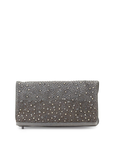 Rhinestone Waterfall Clutch Bag, Gray