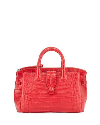 Cristina Small Crocodile Tote Bag, Red Matte