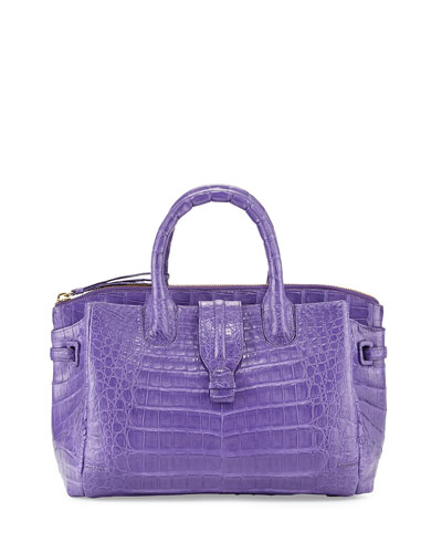 Cristina Small Crocodile Tote Bag, Purple Matte