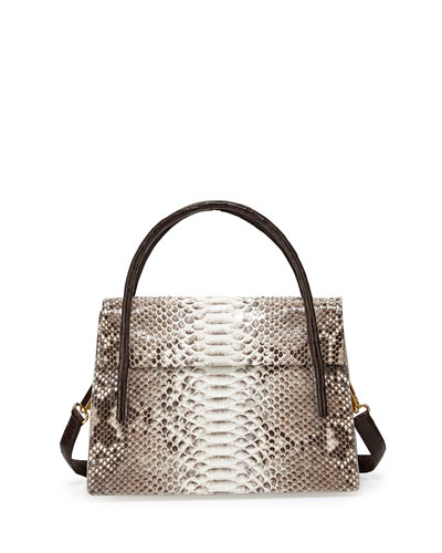 Python/Crocodile Medium Flap Bag, Natural