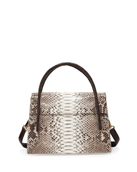 Nancy Gonzalez Python/Crocodile Medium Flap Bag, Natural