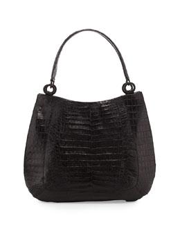 Medium Crocodile Hobo Bag, Black