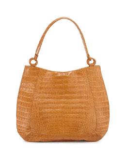 Crocodile Medium Soft Hobo Bag, Saddle Matte