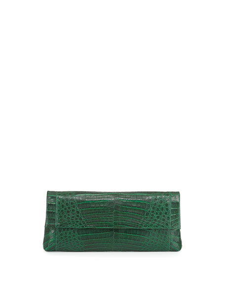 Nancy Gonzalez Gotham Crocodile Flap Clutch Bag, Green