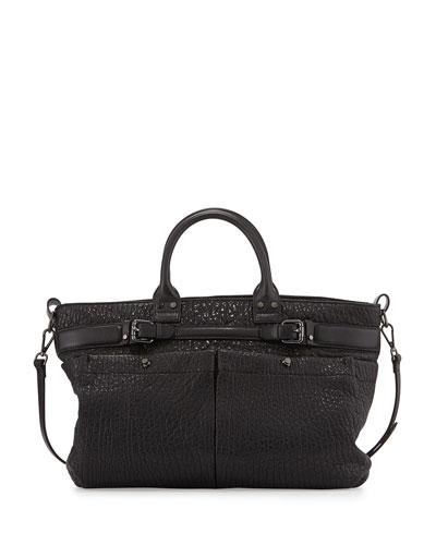 Kira Bubble Leather Satchel Bag, Black