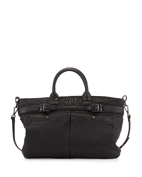 Kooba Kira Bubble Leather Satchel Bag, Black