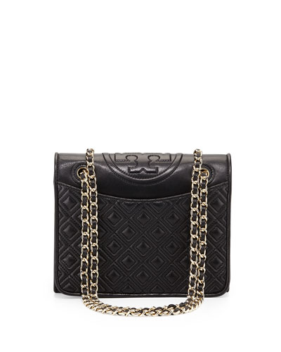 Fleming Quilted Patent Saffiano Leather Flap Bag, Black