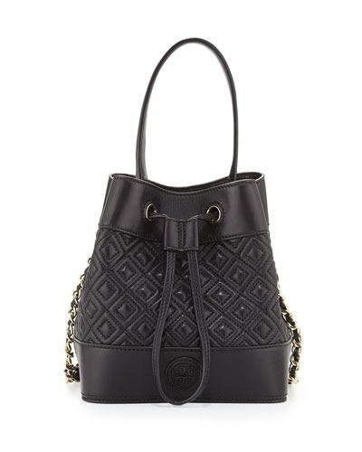 Marion Quilted Mini Bucket Bag, Black