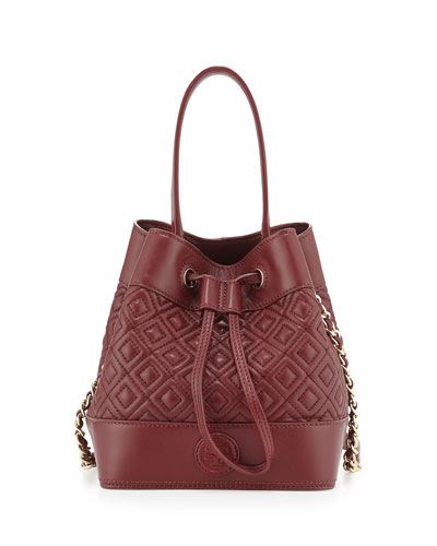 Marion Quilted Mini Bucket Bag, Red Agate