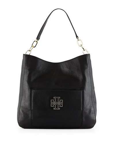 Britten Pebbled Leather Hobo Bag, Black