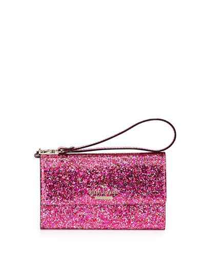 glitter iPhone 6 wristlet wallet, red/multi