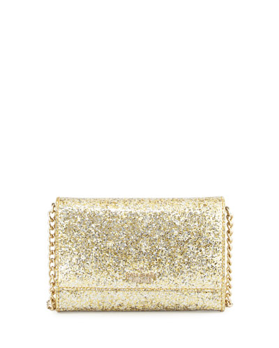 glitter bug cami crossbody bag, gold/silver