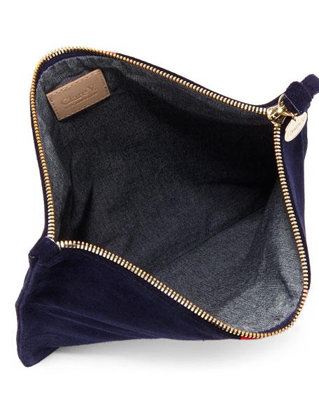 Supreme Margot Suede Fold-Over Clutch Bag, Navy/Red
