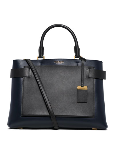 Audrey Large French Calfskin Satchel Bag, Navy