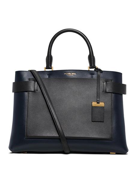 Michael Kors CollectionAudrey Large French Calfskin Satchel Bag,