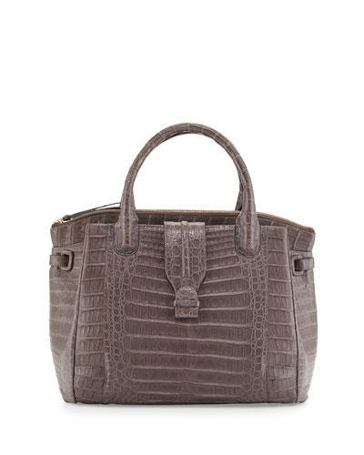 New Christina Crocodile Tote Bag, Matte Gray