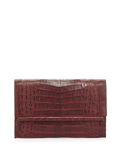 Crocodile Large Bar Clutch Bag, Wine