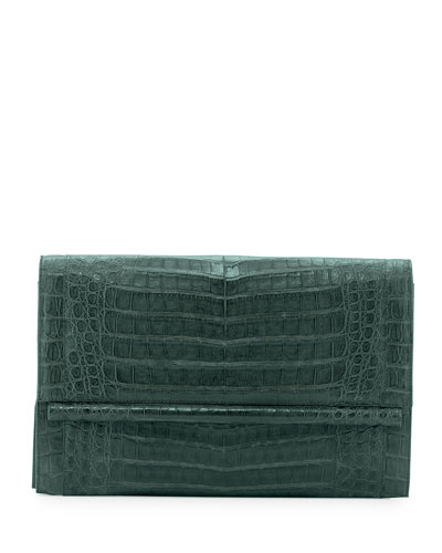 Crocodile Large Bar Clutch Bag, Forest Green