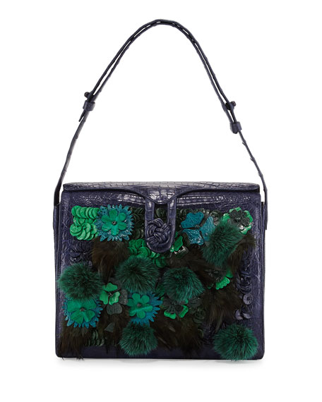 Crocodile Embellished Shoulder Bag, Navy/Green